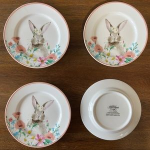 4 Ciroa Easter Bunny Appetizer Easter Plates Set